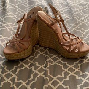 Shoes - Light mauve and boho bottom wedges